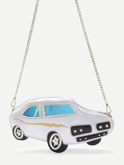Car Shaped PU Crossbody Bag With Chain