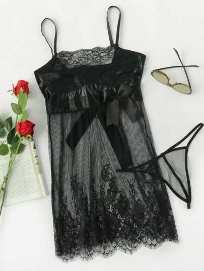 Eyelash Lace Sheer Cami Dress With Thong