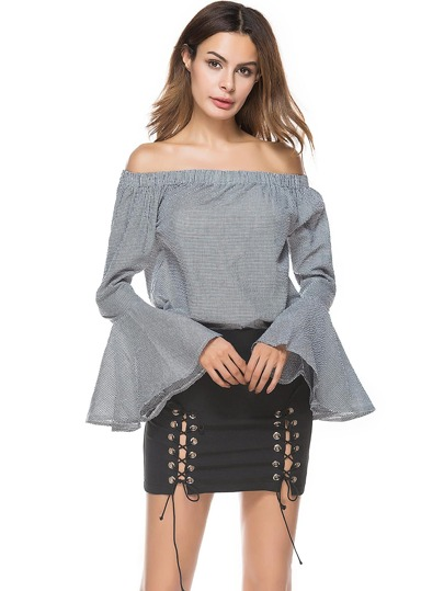 Bardot Trumpet Sleeve Gingham Top