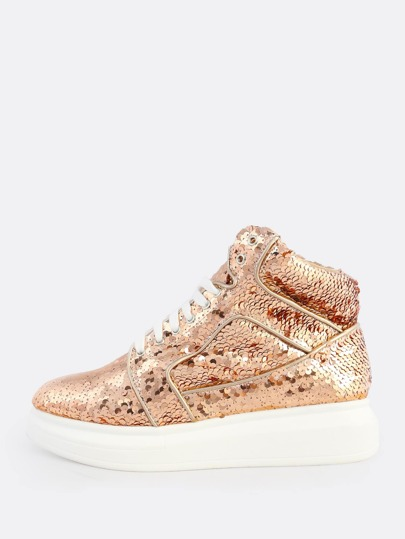 High Top Sequin Lace Up Sneakers ROSE GOLD