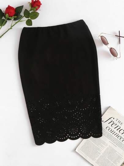 Scalloped Laser Cut Form Fitting Skirt