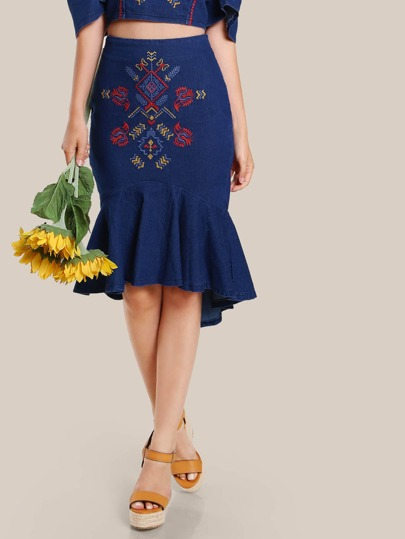 Floral Embroidered Bodycon Skirt DENIM