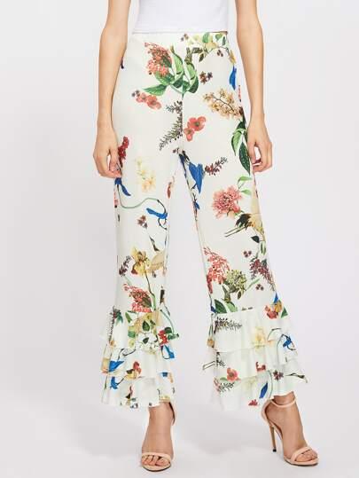 Pantalons botanique à étages avec des plis