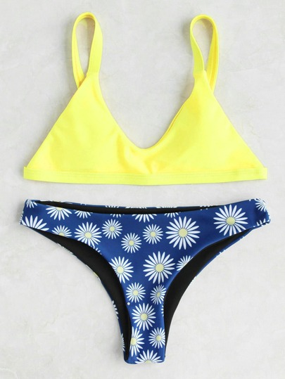 Daisy Print High Leg Triangle Bikini Set