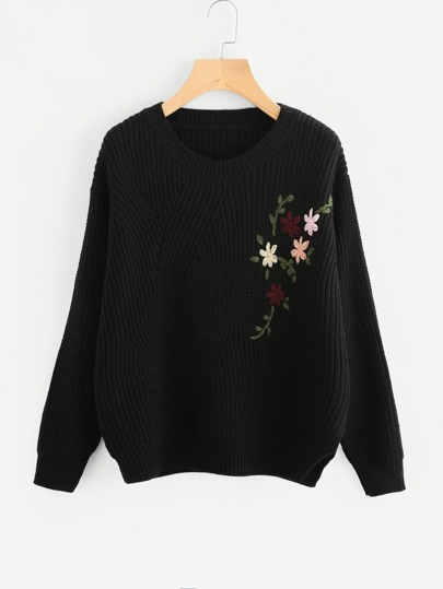 Flower Embroidered Vented Side Jumper