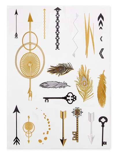 Etiqueta de tatuaje de pluma y flecha