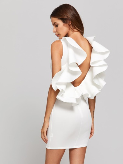 Backless Bodycon Dress With Exaggerated Frill