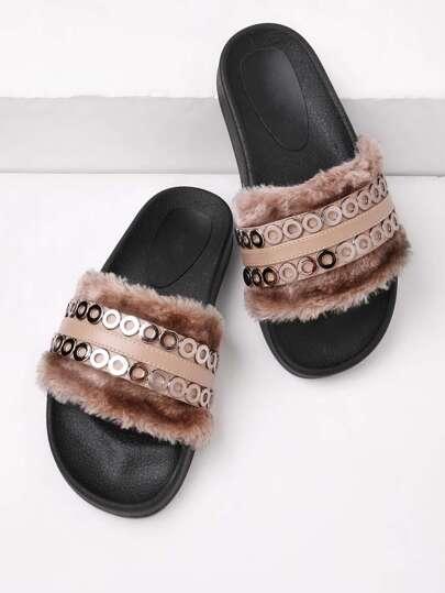 Metal Detail Faux Fur Slip On Sandals