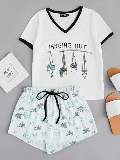 Graphic Ringer Tee And Drawstring Shorts Pajama Set