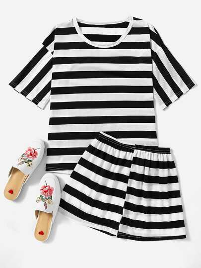 Contrast Striped Tee And Shorts Pajama Set