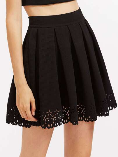 Scallop Laser Cut Box Pleated Skirt