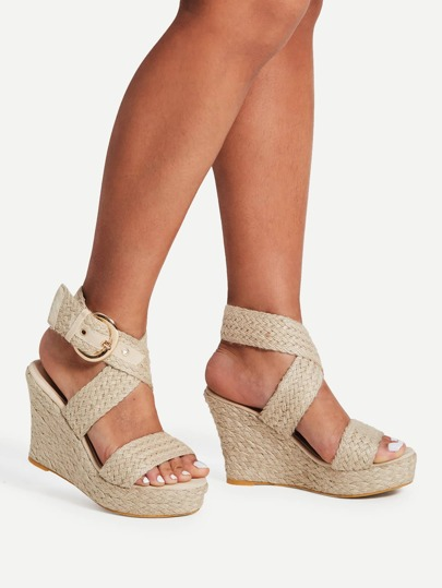 Braided Design Criss Cross Wedge Sandals