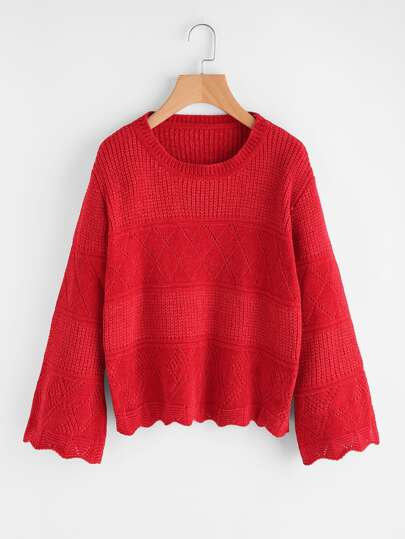 Fluted Sleeve Mixed Knit Jumper