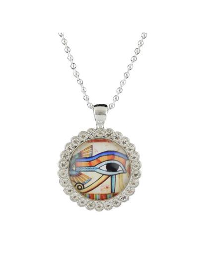 Ethnic Style White Color Rhinestone Eye Shape Pendant Necklace