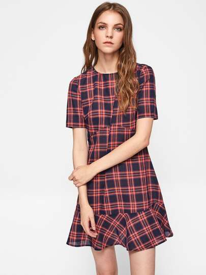 Ruffle Hem Cut And Sew Checkered Dress
