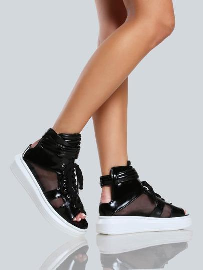 Mesh Cut Out Peep Toe Sneakers BLACK