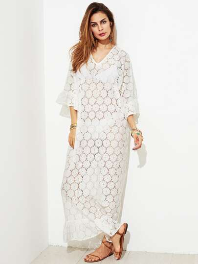 Trumpet Sleeve Floral Lace Cover Up Dress