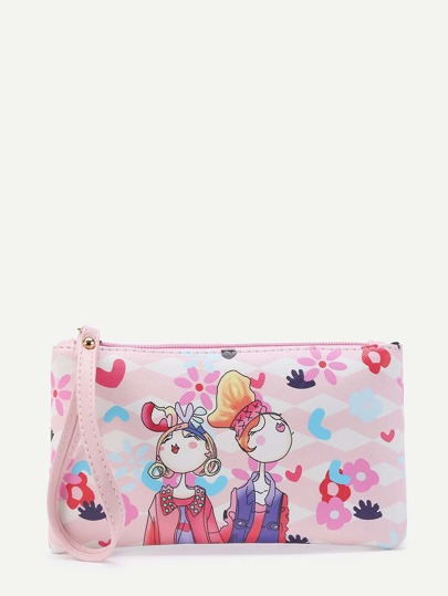 Cartoon Print PU Wristlet Clutch Bag