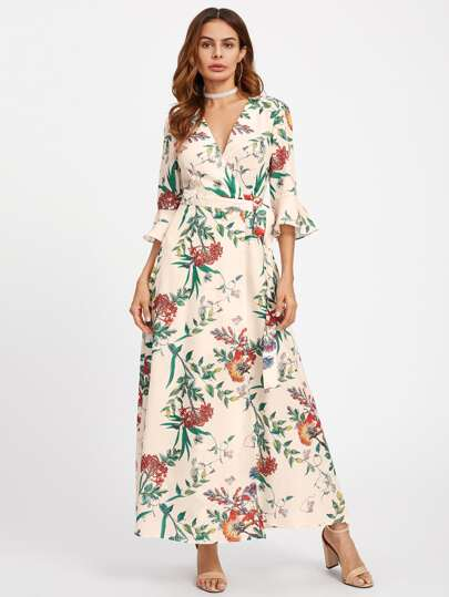 Trumpet Sleeve Surplice Wrap Botanical Dress