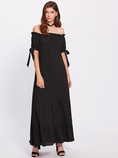 Bardot Frill Trim Tie Cuff Tiered Peasant Dress