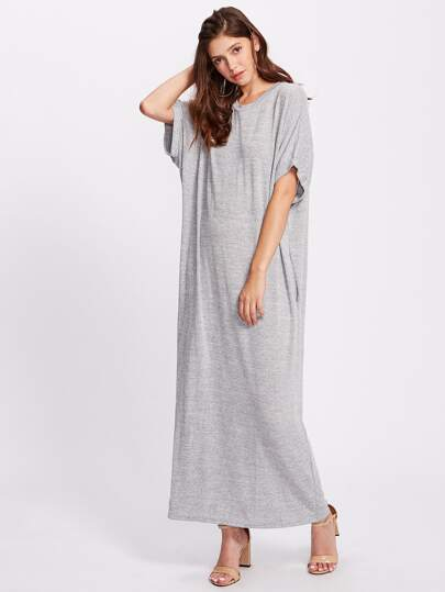 Heather Knit Pocket Side Cocoon Tee Dress