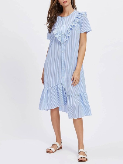 Frill Trim Staggered Hem Shirt Dress