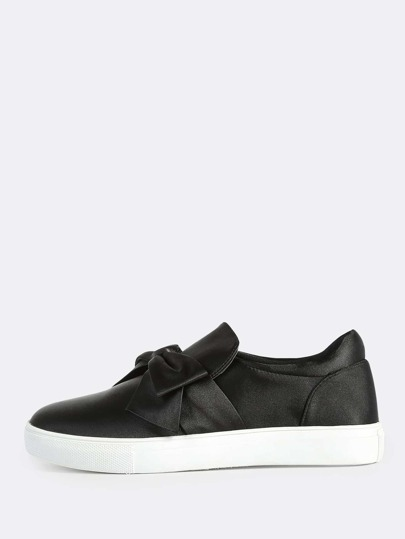 Faux Satin Bow Top Sneakers BLACK
