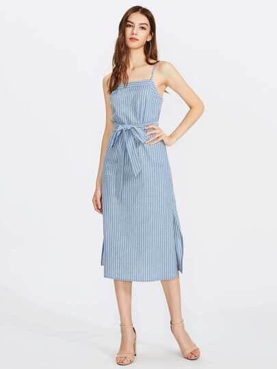 Self Tie Slit Side Pinstripe Cami Dress