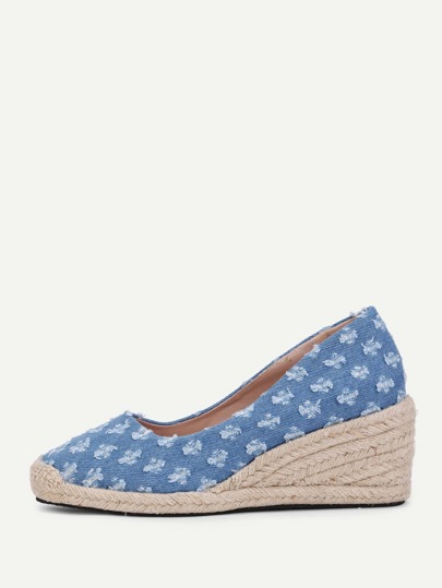 Wedges tissés rétro en denim