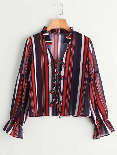 Frill Collar Tie Detail Striped Chiffon Blouse