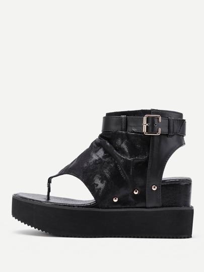 Side Zipper Toe Post Wedge Sandals