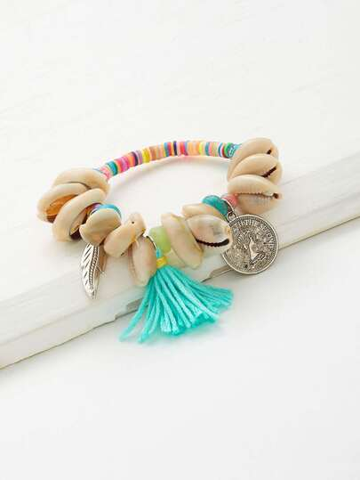 Shell & Tassel Decorated Charm Bracelet
