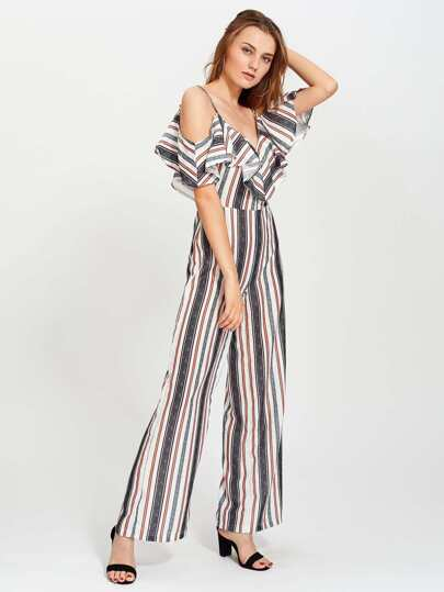 Frill Trim Vertical Striped Wide Leg Jumpsuit
