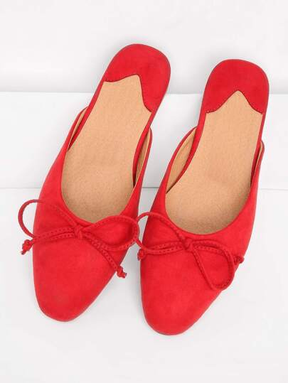 Bow Tie Decorated Almond Toe Flats