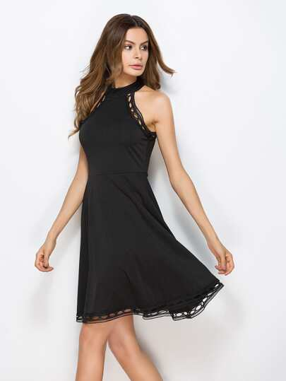 Hollow Out Crochet Trim Swing Dress