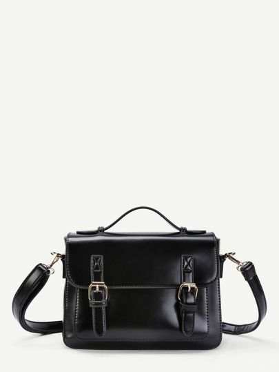 Faux Leather Satchel Bag With Adjustable Strap