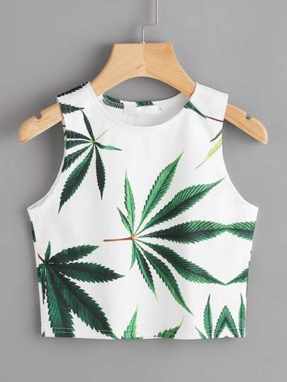 Leaf Print Crop Tank Top