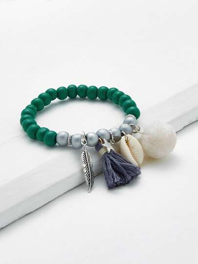 Leaf & Shell Design Beaded Charm Bracelet