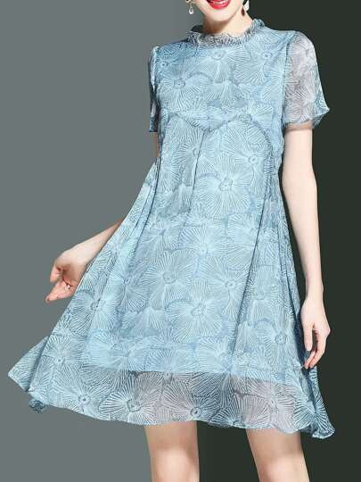 Snowflake Print Shift Chiffon Dress