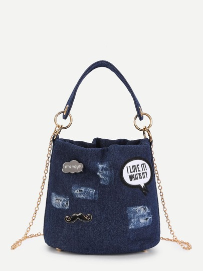 Patch Detail Denim Shoulder Bag With Handle