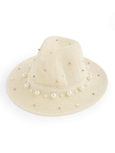 Faux Pearl Embellished Fedora Hat With Rivet