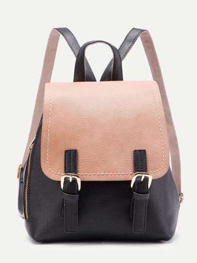 Two Tone Zipper Detail PU Backpack