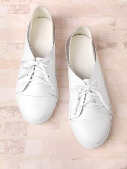 Two Tone Lace Up Flat Shoes