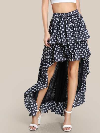 Dotted Hi Lo Skirt BLACK WHITE