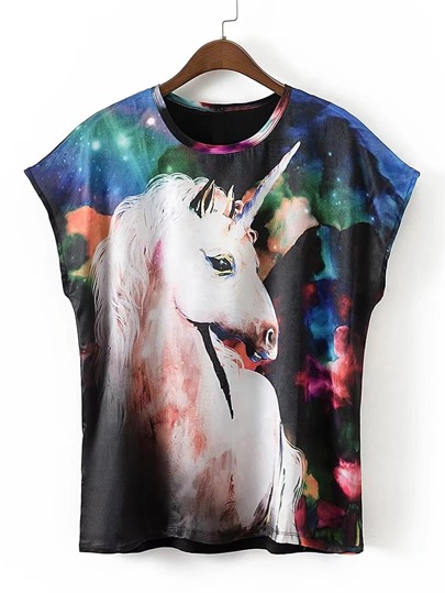 Horse Print Cap Sleeve Tee