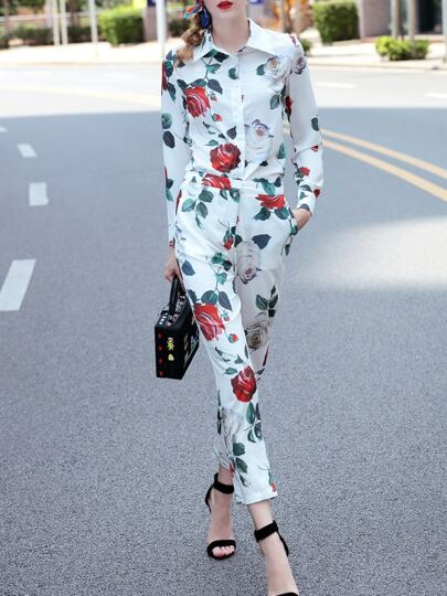 Rose Print Shirt Top With Pockets Pants
