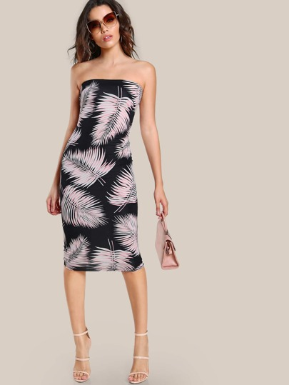 Palm Leaf Bodycon Dress BLACK BLUSH