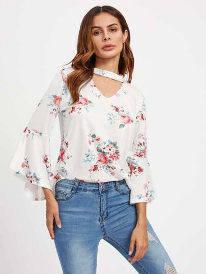 V Cut Choker Neck Fluted Sleeve Florals Tee