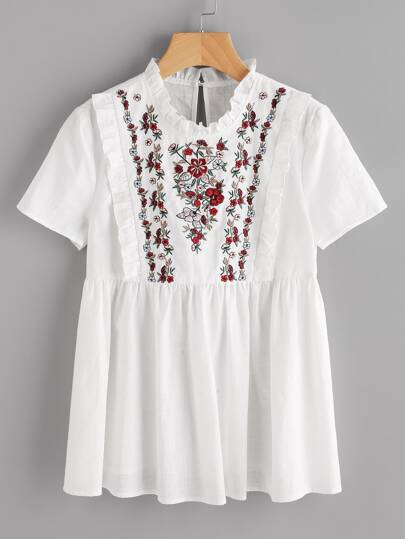 Embroidered Yoke Frill Trim Smock Top