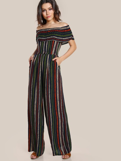 Striped Off Shoulder Jumpsuit MULTI